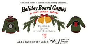 Holiday Board Game Wish List and Ugly Sweater Party Header Graphic
