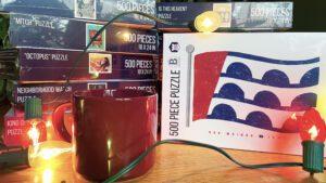 Jigsaw puzzles with coffee mug